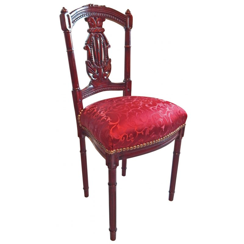 chaise harpe de style louis xvi avec tissu satin rouge et bois acajou. Black Bedroom Furniture Sets. Home Design Ideas