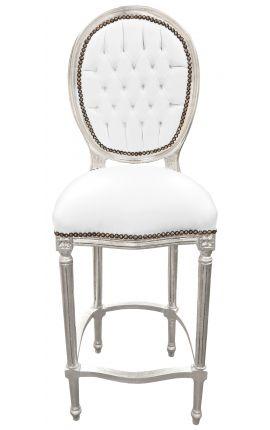 Chaise de bar de style Louis XVI simili cuir blanc et bois argent
