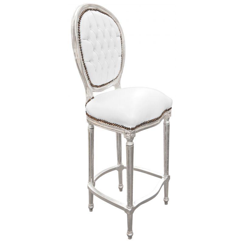 Chaise de bar style louis xvi simili cuir blanc et bois - Chaise simili cuir blanc ...