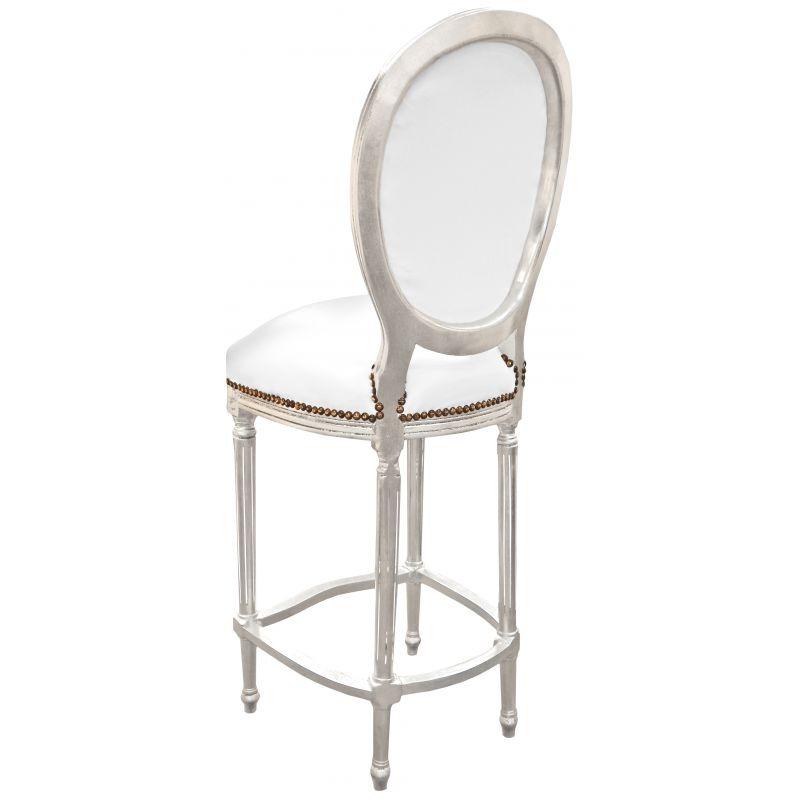 Chaise De Bar Style Louis Xvi Simili Cuir Blanc Et Bois
