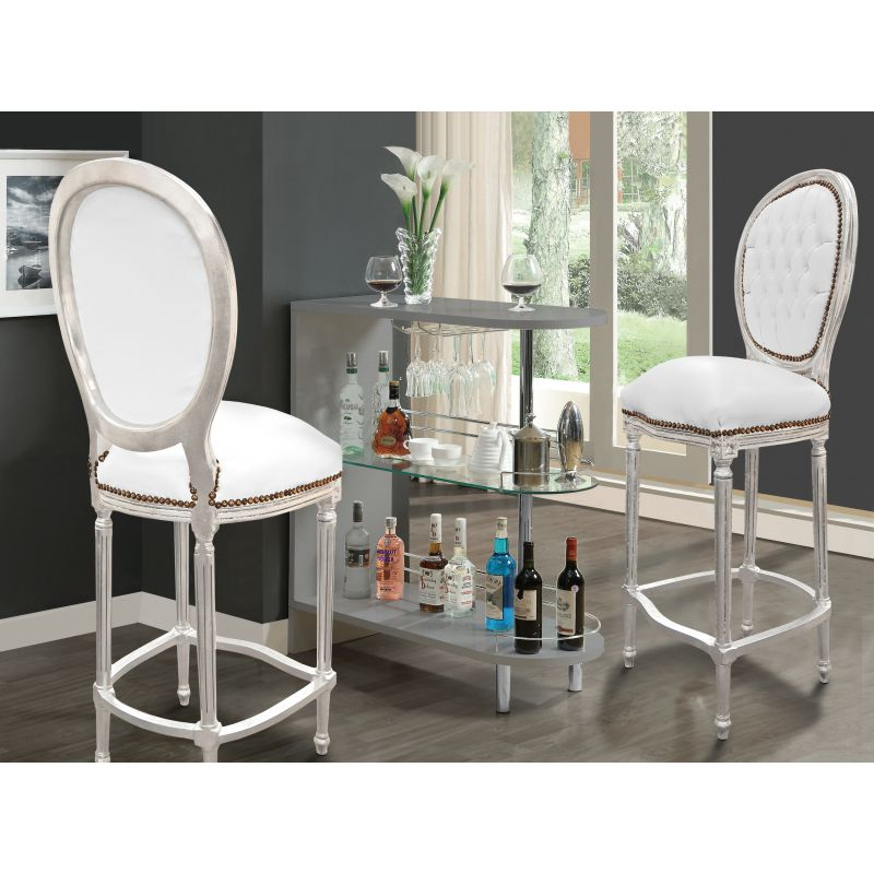 Chaise de bar style louis xvi simili cuir blanc et bois for Chaise bois et blanc