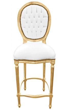 Бар стул в стиле Louis XVI табурет лже белая кожа золочение