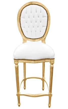 Bar chair Louis XVI style white faux leather and gold wood