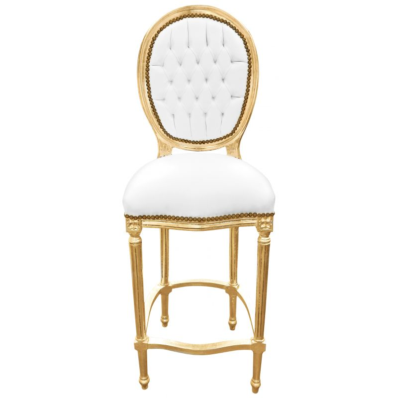 Chaise de bar style louis xvi simili cuir blanc et bois dor for Chaise cuir blanc
