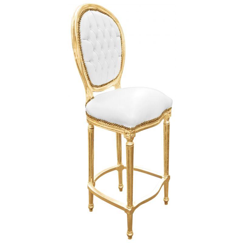 Chaise de bar style louis xvi simili cuir blanc et bois dor for Chaise de style