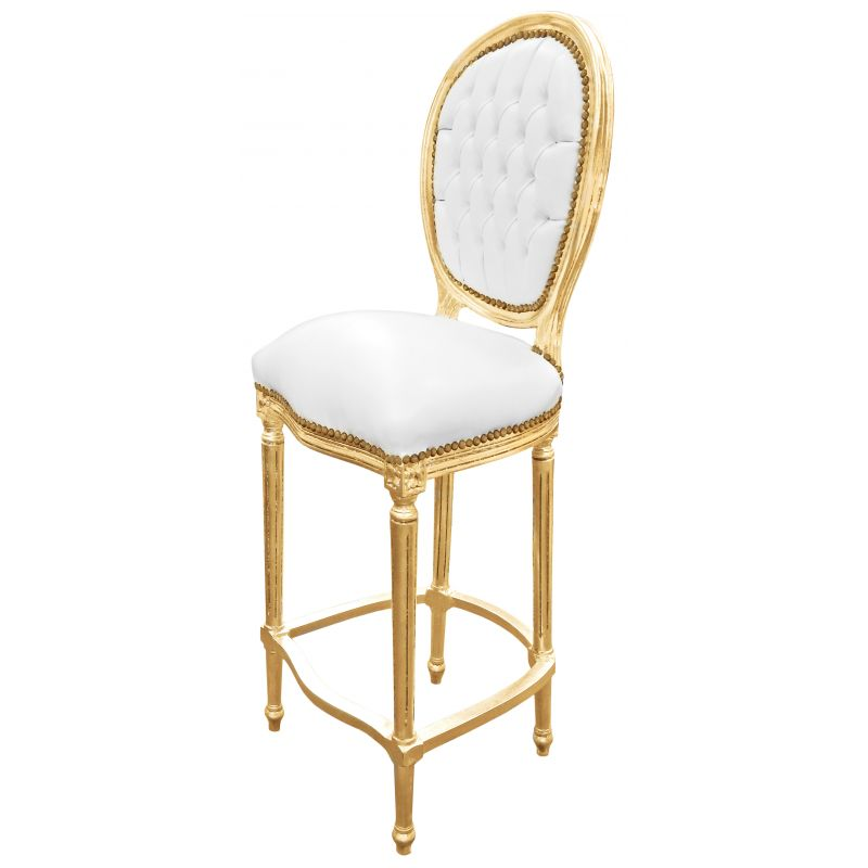 Chaise de bar style louis xvi simili cuir blanc et bois dor for Chaise simili cuir