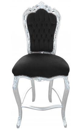 Chaise de bar de style baroque rococo, velours noir et bois argenté
