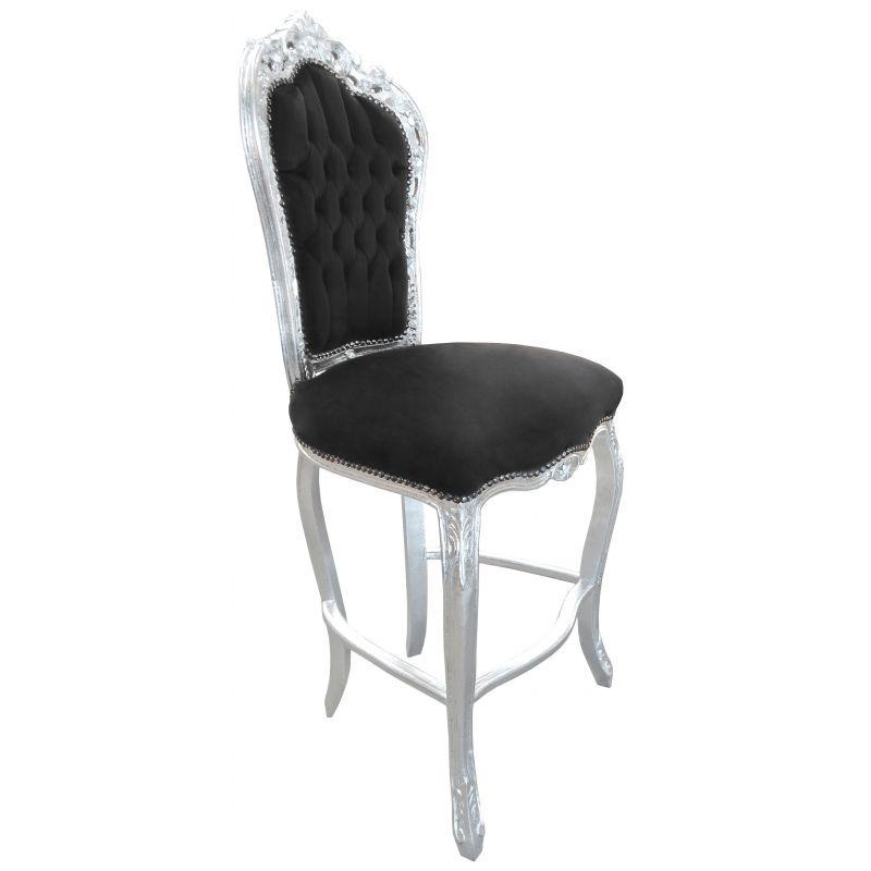 Chaise de bar de style baroque tissus en velours noir et - Chaise baroque noir ...