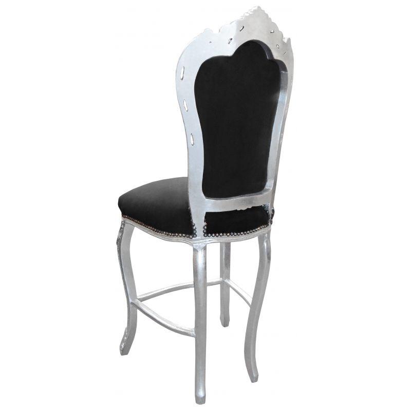 chaise de bar de style baroque tissus en velours noir et bois argent. Black Bedroom Furniture Sets. Home Design Ideas