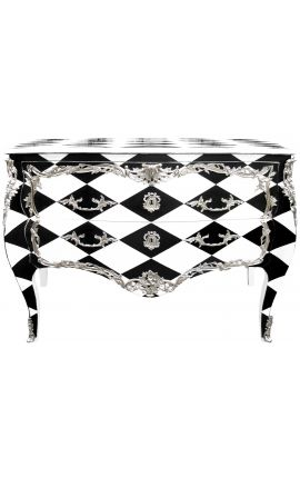 """Large baroque chest of drawers Louis XV style """"Checkerboard"""" black and white"""
