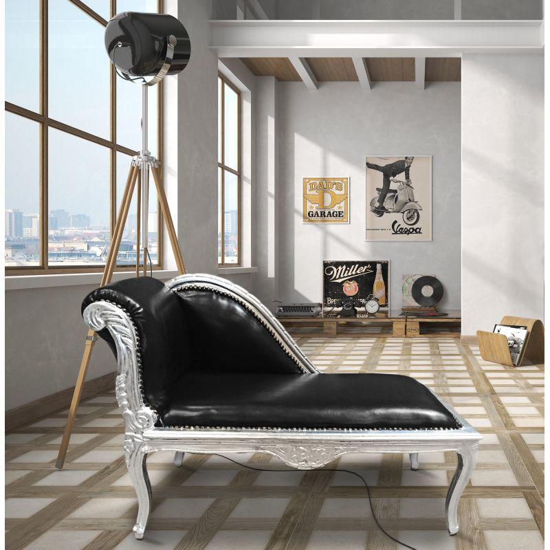 m ridienne de style louis xv tissu simili cuir noir et. Black Bedroom Furniture Sets. Home Design Ideas