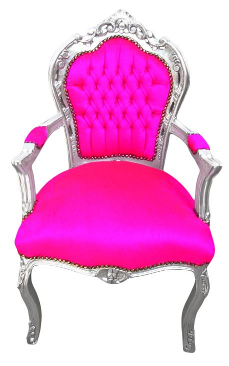 Armchair Baroque Rococo style rose fuchsia velvet and silvered wood
