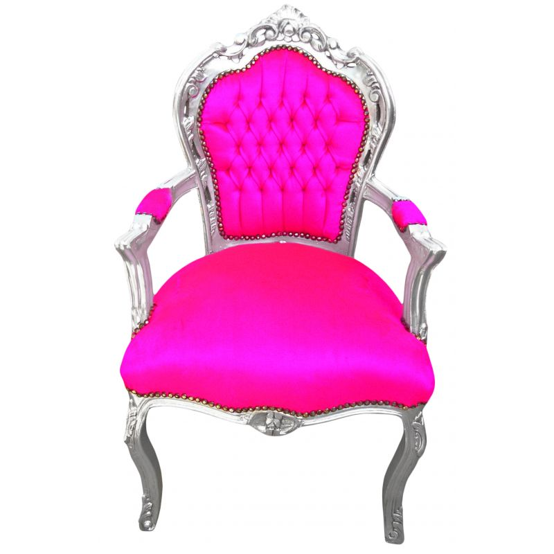 fauteuil de style baroque rococo tissu velours rose fuchsia et bois argent. Black Bedroom Furniture Sets. Home Design Ideas