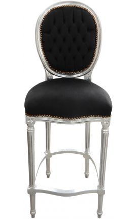 Bar chair Louis XVI style black velvet fabric and silver wood