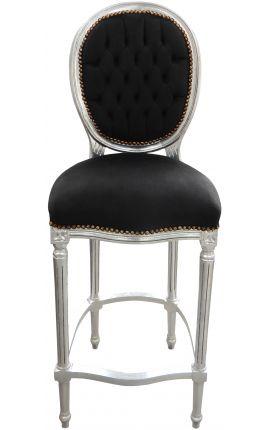 Chaise de bar de style Louis XVI, tissu velours noir et bois argenté