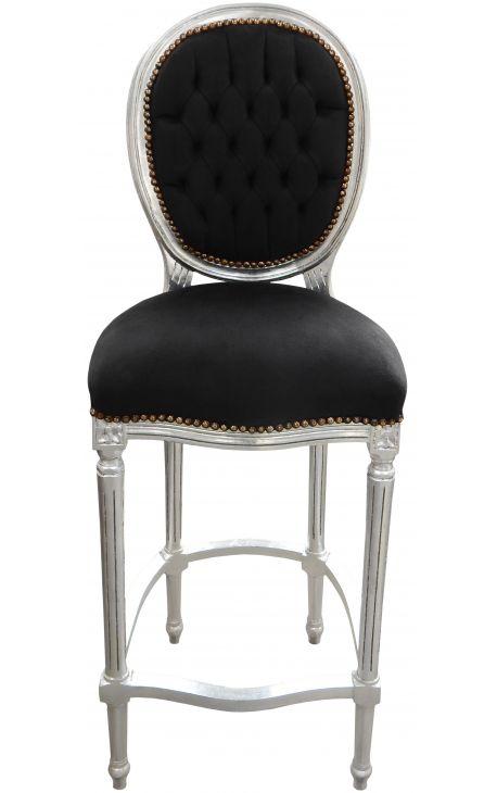 chaise de bar de style louis xvi avec tissu velours noir et bois argent. Black Bedroom Furniture Sets. Home Design Ideas