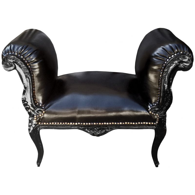 banquette baroque de style louis xv simili cuir noir et bois noir. Black Bedroom Furniture Sets. Home Design Ideas