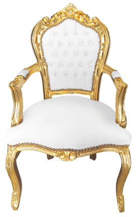 Armchair Baroque Rococo style white leatherette with rhinestones and gold wood