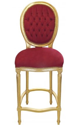 Bar chair Louis XVI style burgundy velvet fabric and gold wood