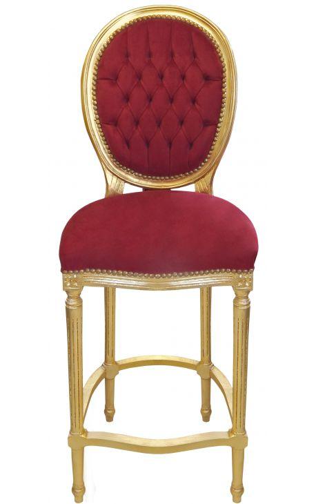 Chaise de bar de style Louis XVI à pompon, velours bordeaux et bois doré