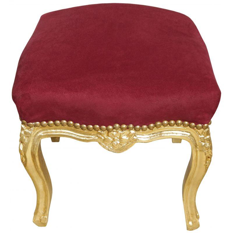 Reposepied baroque de style Louis XV Bordeaux et bois doré -> Pied Meuble Louis Xv