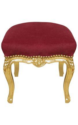 Repose-pied baroque de style Louis XV Bordeaux et bois doré