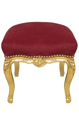 Baroque footrest Louis XV red burgundy fabric and gold leaf wood