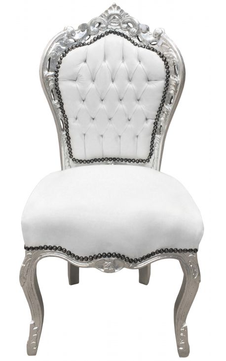 Baroque rococo style chair white leatherette and silver wood