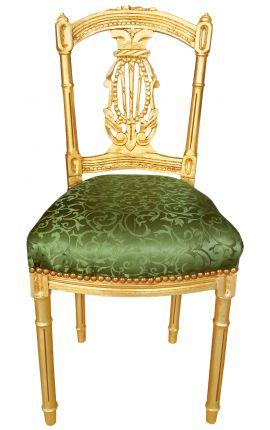 Chaise harpe avec tissu satiné vert et bois doré