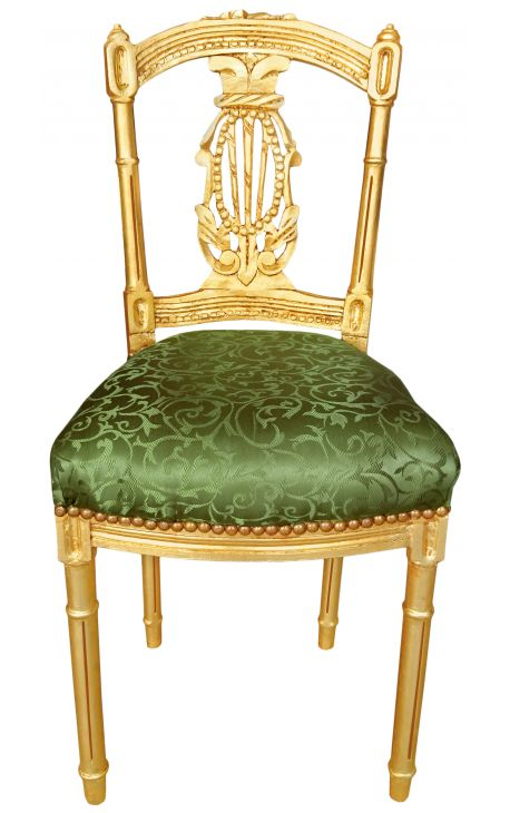 Harp chair Louis XVI style satin fabric green with gold wood