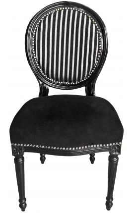 Louis XVI style chair black & white stripes and black wood