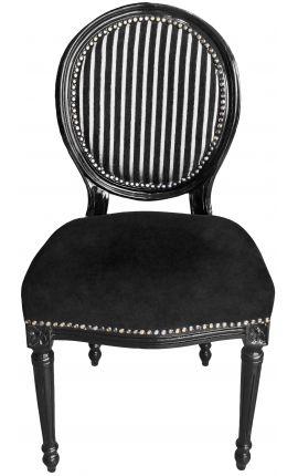 Chaise de style Louis XVI rayée noir et blanc et bois noir