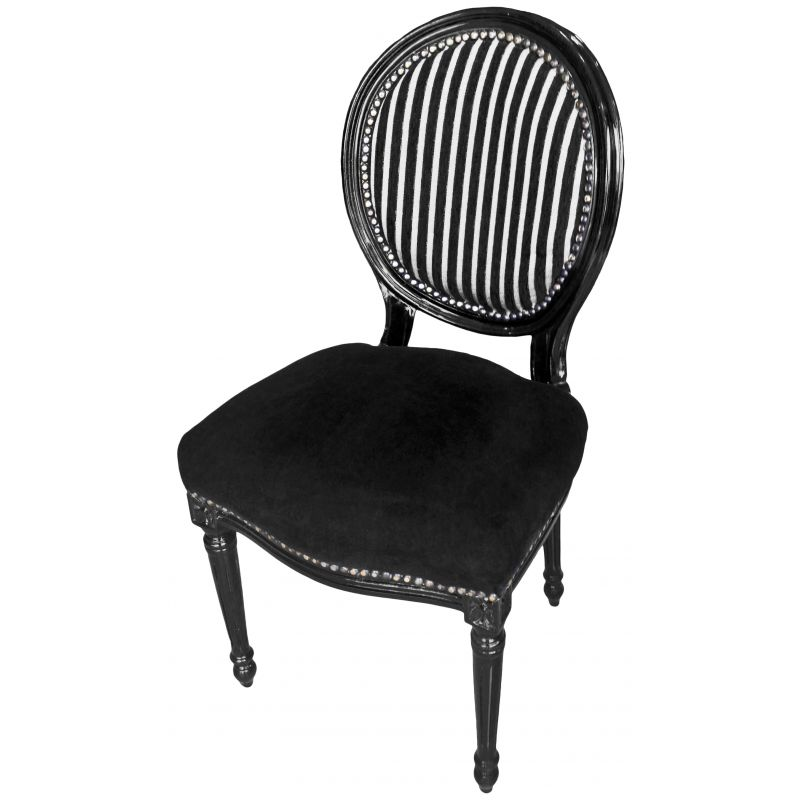 Chair Louis XVI style black and white stripes with black sit, black wood # Chaises Blanches Bois
