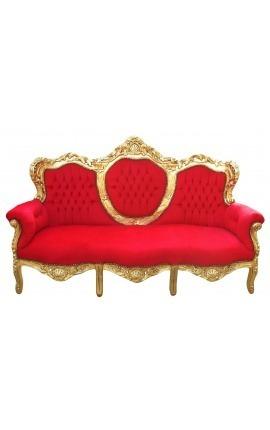Canapé baroque tissu velours rouge et bois doré