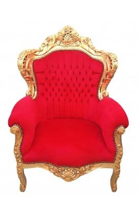 Grand fauteuil de style baroque tissu velours rouge et bois doré