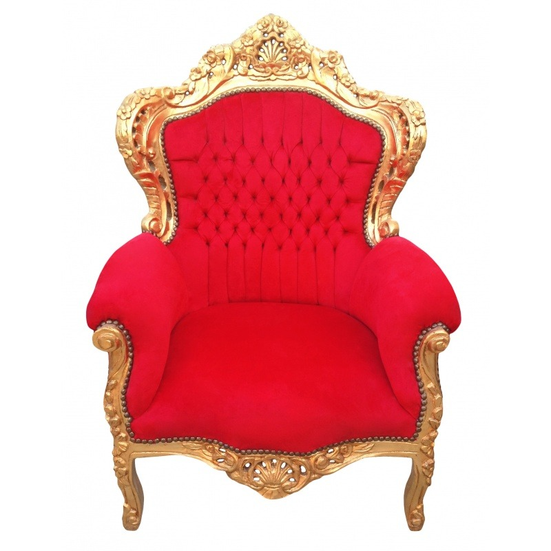 grand fauteuil de style baroque tissu velours rouge et. Black Bedroom Furniture Sets. Home Design Ideas