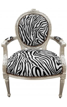 Baroque armchair Louis XVI style zebra fabric and wood silver