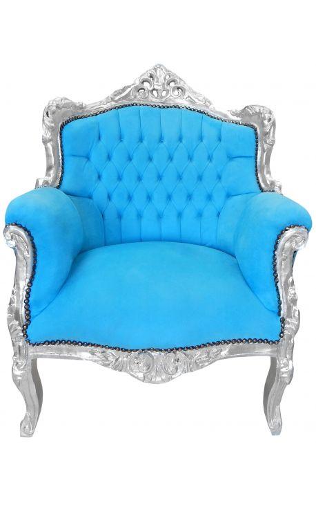 """Fauteuil """"princier"""" de style Baroque turquoise et bois argent"""