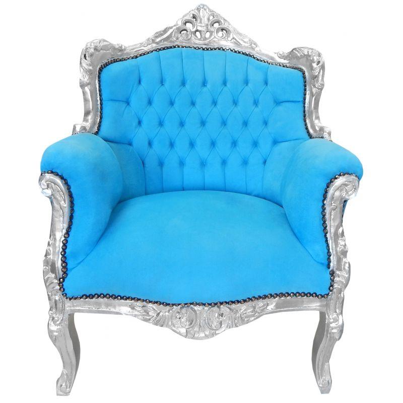 Fauteuil princier de style baroque turquoise et bois argent - Fauteuil style baroque ...