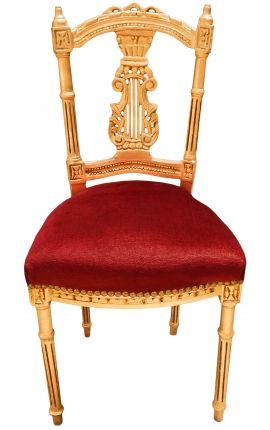 Chaise harpe avec tissu bordeaux et bois doré