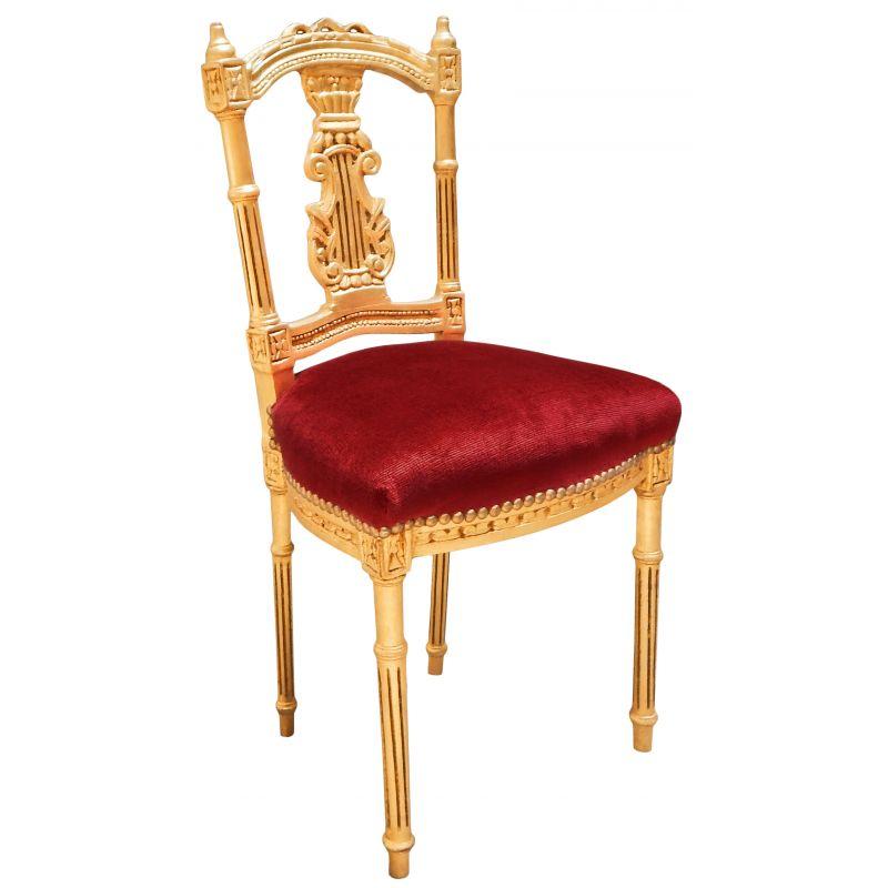chaise harpe avec tissu en velours bordeaux et bois dor. Black Bedroom Furniture Sets. Home Design Ideas