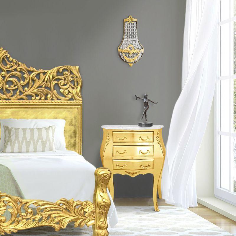 Table de nuit chevet commode baroque bois dor plateau marbre blanc - Table de nuit baroque ...