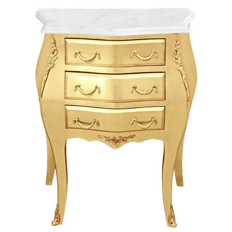 table de nuit chevet commode baroque bois dor plateau marbre blanc. Black Bedroom Furniture Sets. Home Design Ideas