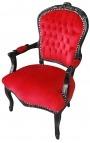 Fauteuil baroque de style Louis XV velours rouge et bois noir