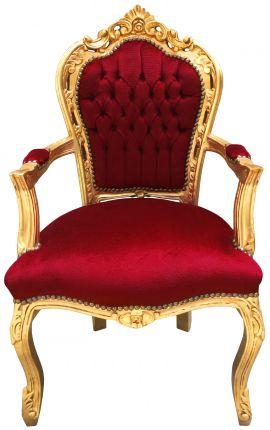 Fauteuil de style Baroque Rococo tissu velours Bordeaux et bois doré