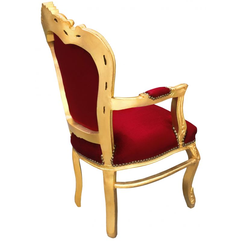 Baroque Rococo armchair style red burgundy velvet and gold ...