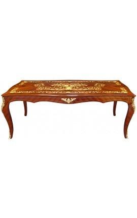 Table de repas de style Louis XV marqueterie palissandre