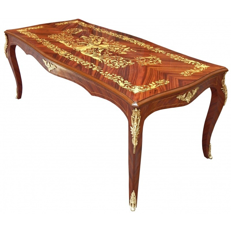 large dining table louis xv style marquetry palisander. Black Bedroom Furniture Sets. Home Design Ideas