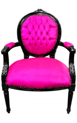 Baroque armchair Louis XVI style medallion rose fushia texture and black lacquered wood