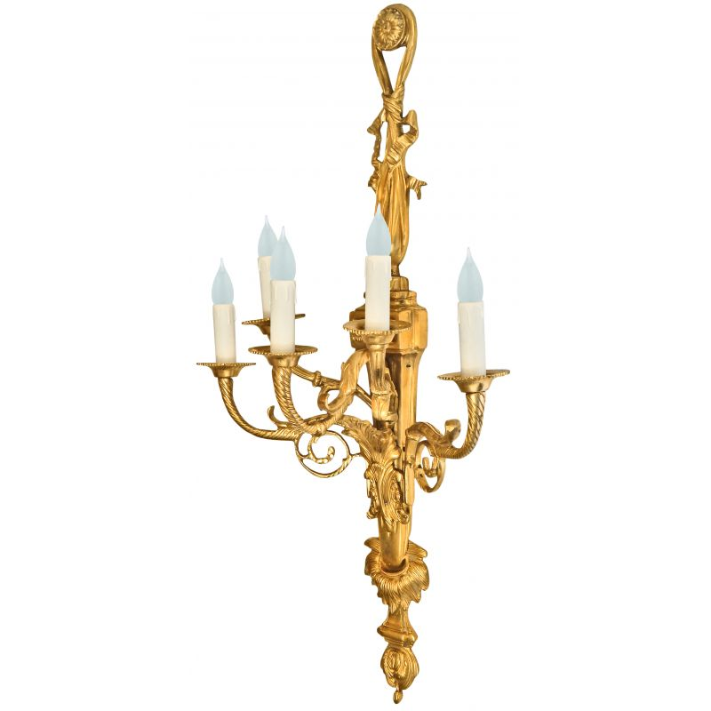 Very Large Wall Sconces : Very large gilt bronze wall light style Napoleon III five sconces